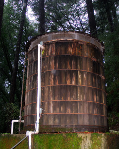 Our historic-looking, yet serviceable, redwood water storage tank